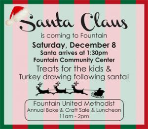 Santa in Fountain - Bake & Craft Sale!
