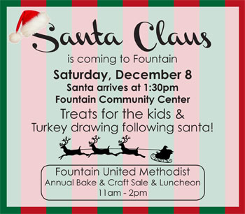 Santa in Fountain – Bake & Craft Sale!