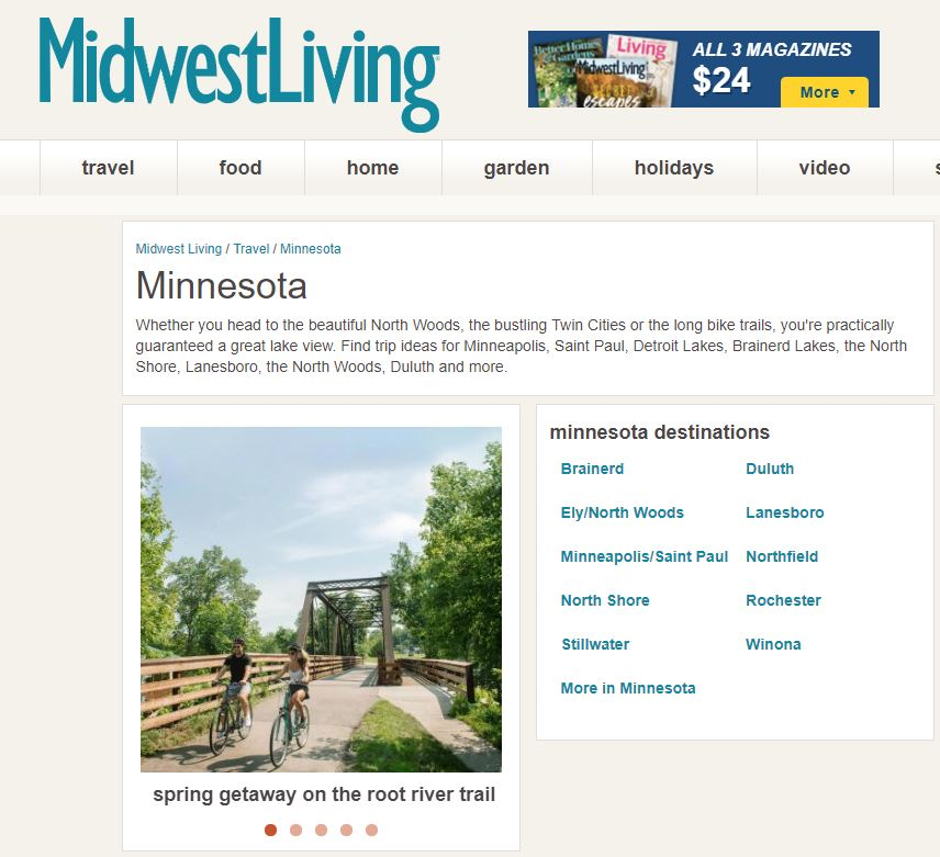 Root River Trail Towns Featured in Midwest Living Magazine